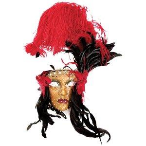 Lady Fiore con Piume Rossa Nera