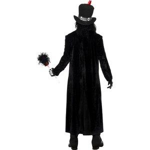 Costume Vudù Uomo, Nero, comprende Giacca, Bastone, Cappello, Maschera e Collana