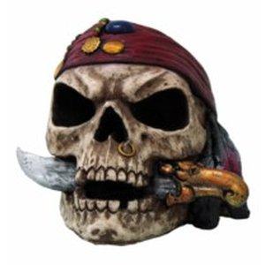 Piratenschädel mit Dolch im Mund