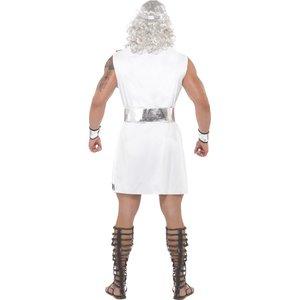 Costume da Zeus, bianco, toga, cinta, copricapo, polsini e saetta luminosa