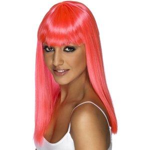 Perruque glamourama, rose fluo, cheveux longs, lisses avec frange