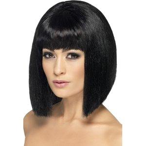 Perruque coquette, noire, cheveux courts avec frange