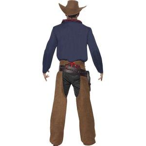 Costume de cowboy rodéo, bleu, avec chemise, jambières et chapeau