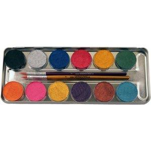 12 Perlglanz-Farben Metall-Palette - Malkasten
