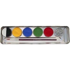 6er Kombi  Metall-Palette - Malkasten