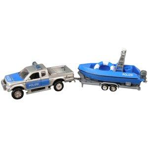 Polizei Pickup mit Boot