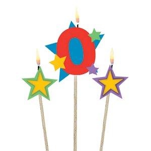 Zahl 0 mit zwei Sternen - Geburtstagsparty