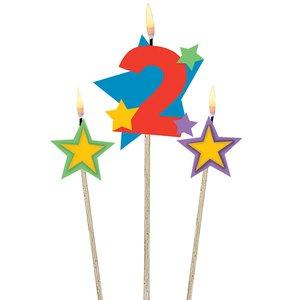 Zahl 2 mit zwei Sternen - Geburtstagsparty
