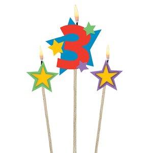 Zahl 3 mit zwei Sternen - Geburtstagsparty