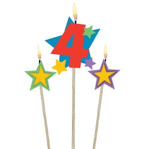 Zahl 4 mit zwei Sternen - Geburtstagsparty