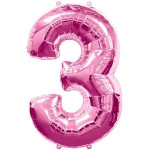 Geburtstagsparty / Jubiläum - Zahl 3 (rosa)