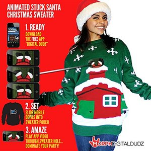 Knitted Christmas Sweater - Stuck Santa