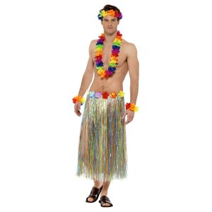 Hawaii - Regenbogen Blumenkette (3er Set)