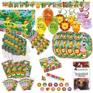 Dschungel Tiere: Geburtstags-Box für 8 Kinder