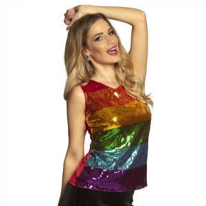 Top con paillettes arcobaleno